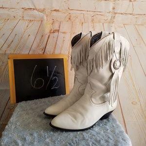 Acme Vintage Fringe White Leather Boots Size 61/2